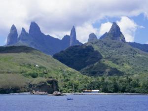 View Across Sea to Island, Fatu Hiva, Marquesas Islands, French Polynesia, South Pacific Islands by Sybil Sassoon