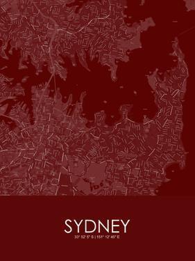 Sydney, Australia Red Map