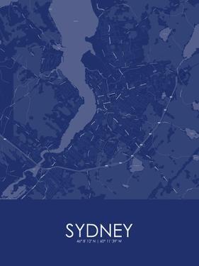 Sydney, Canada Blue Map