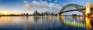 Sydney Harbour Bridge and Skylines at Dusk, Sydney, New South Wales, Australia