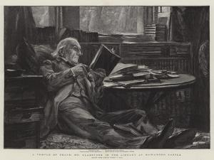 A Temple of Peace, Mr Gladstone in the Library at Hawarden Castle by Sydney Prior Hall