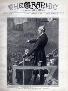 Arthur James Balfour, British politician and statesman speaking in the drill hall, Sheffield by Sydney Prior Hall