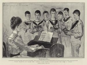 Choir Practice on Board the Ophir, Lady Mary Lygon Giving the Boys a Lesson by Sydney Prior Hall
