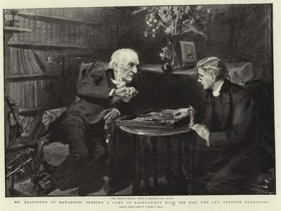 Mr Gladstone at Hawarden, Playing a Game of Backgammon with His Son, the Reverend Stephen Gladstone by Sydney Prior Hall