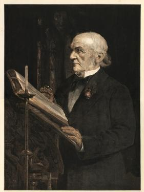 William Ewart Gladstone (1809-1898) English statesman, reading the Lesson in Hawarden Church by Sydney Prior Hall