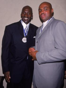 Basketball Players Michael Jordan and Charles Barkley at Great Sports Legend Dinner by Sylvain Gaboury