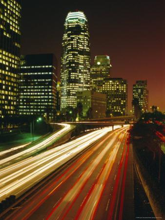City at Night, Downtown Los Angeles, California, United States of America (U.S.A.), North America by Sylvain Grandadam