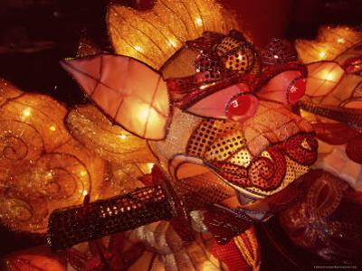 Close-up of Illuminated Lantern, Taipei, Taiwan, Asia