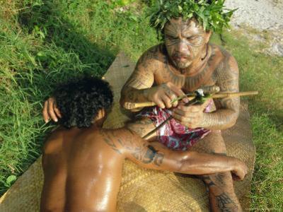 Tavita Manea, Tattooer, Moorea, Society Islands, French Polynesia, South Pacific Islands, Pacific by Sylvain Grandadam