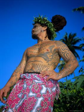 Tavita Manea, the Tattooed Tattoer, Moorea, Society Islands, French Polynesia by Sylvain Grandadam