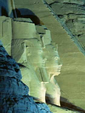 Temple of Ramasses (Ramses) II (Ramses the Great), at Night, Abu Simbel, Nubia, Egypt, Africa by Sylvain Grandadam