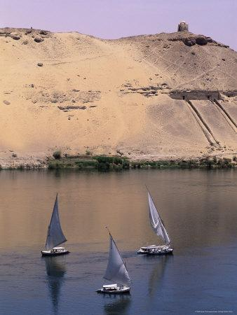 Three Feluccas on the River Nile, Aswan, Nubia, Egypt, North Africa, Africa
