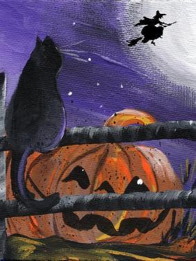 Black Cat in Pumpkin Patch Halloween by sylvia pimental