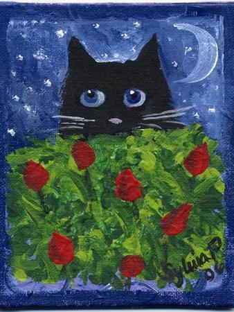 Black Cat in the Tulips