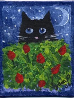 Black Cat in the Tulips by sylvia pimental
