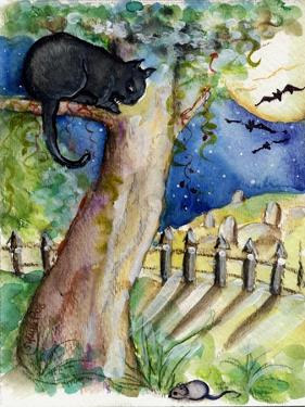 Black Cat Sitting in Tree Bats & Full Moon by sylvia pimental