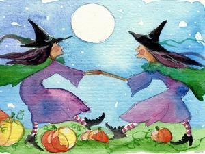 Dancing Witches Halloween Moon by sylvia pimental