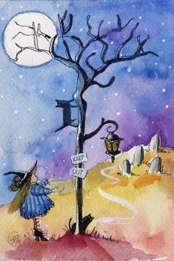 Halloween Graveyard Black Cat Keep Out by sylvia pimental