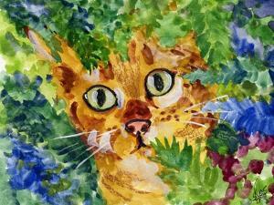 Hiding Tabby Cat by sylvia pimental