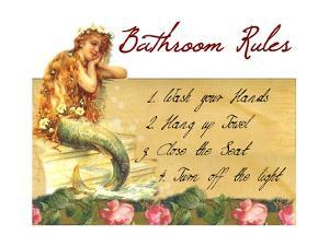 Mermaid Bathroom Rules by sylvia pimental