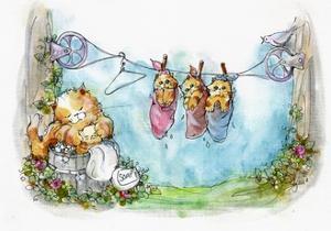 Momma Tabby Cat washing Kittens by sylvia pimental