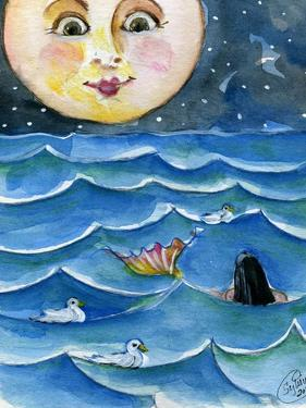 Moon Face Mermaid in The Sea by sylvia pimental