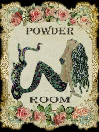 Powder Room Mermaid with Vintage Roses by sylvia pimental