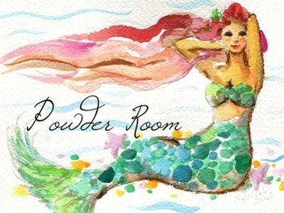 Powder Room Red Hair Mermaid by sylvia pimental