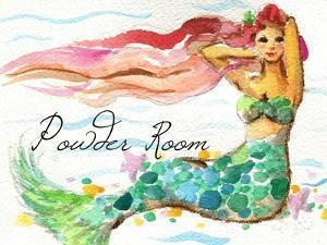 Powder Room Red Hair Mermaid by sylvia pimental