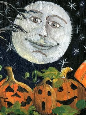 Pumpkin Patch Halloween Full Moon Face by sylvia pimental