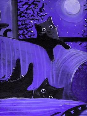 Purple Halloween Black Cats Witch Feet by sylvia pimental