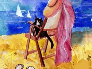 Tuxedo Cat on the Beach by sylvia pimental