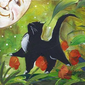 Tuxedo Cat With Moonface & Tulips by sylvia pimental