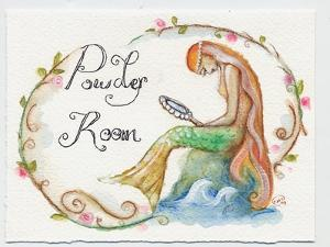 Watercolor Powder Room Mermaid with Looking Glass by sylvia pimental