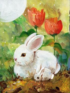 White Bunny Mom & Baby by sylvia pimental