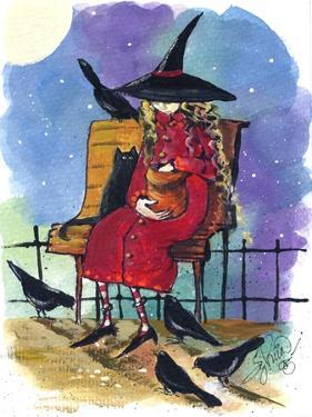 Witch feeding Crows Halloween by sylvia pimental