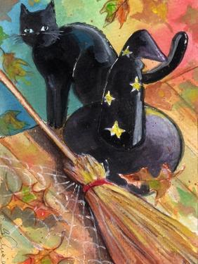 Witches Hat and Black Cat Halloween by sylvia pimental