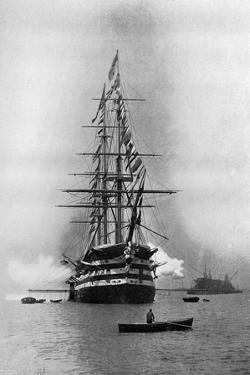 HMS Duke of Wellington Firing a Royal Salute as Flagship at Portsmouth, Hampshire, 1896 by Symonds & Co