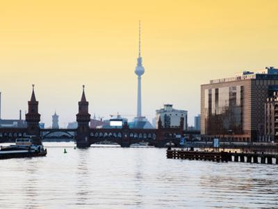 Berlin Oberbaumbrucke with Tv Tower at Sunset by Synchropics