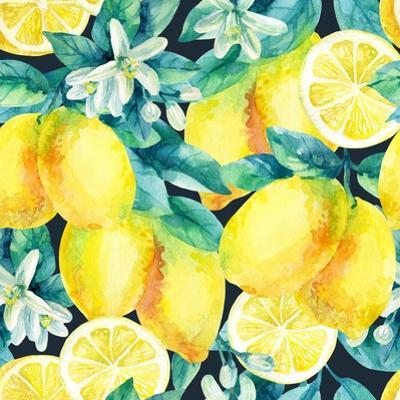 Watercolor Lemon Fruit Branch with Leaves Seamless Pattern on Black Background. Lemon Citrus Tree. by Syrytsyna Tetiana