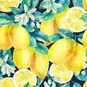 Watercolor Lemon Fruit Branch with Leaves Seamless Pattern on Black Background. Lemon Citrus Tree. by Syrytsyna Tetiana