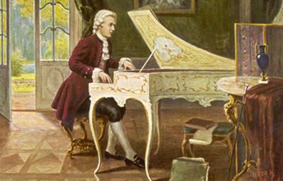 Wolfgang Amadeus Mozart the Austrian Composer Playing an Ornate Harpsichord by T. Beck