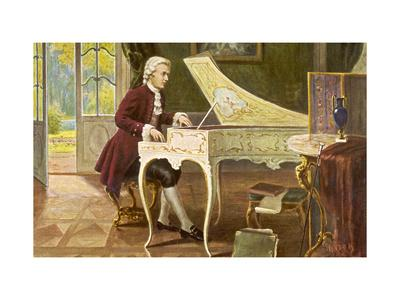 Wolfgang Amadeus Mozart the Austrian Composer Playing an Ornate Harpsichord