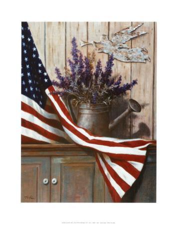 Flag with Purple Flowers by T. C. Chiu