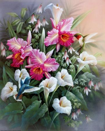 Hummingbirds with Lilies by T. C. Chiu