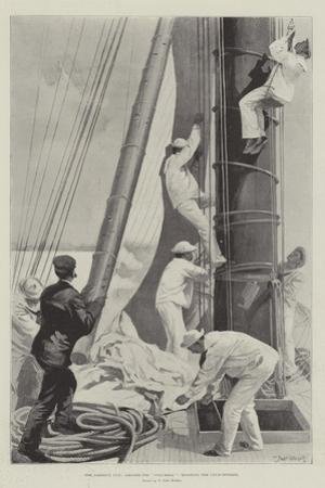 The America Cup, Aboard the Columbia, Hoisting the Club-Topsail