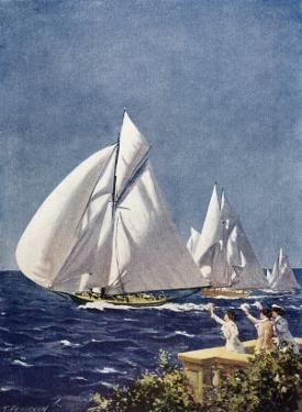 Scene at Cowes Regatta, Sailing Ships Fly Past as the Wind Fills Their Billowing White Sails by T. Friedenson