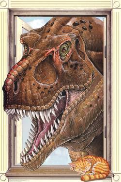 T-Rex Dinosaur Window Print Poster