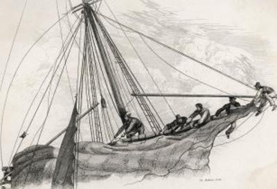 Five Sailors in the Rigging of a Sailing Ship Reefing a Sail