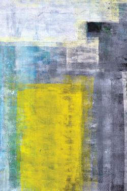 Grey, Teal And Yellow Abstract Art Painting by T30Gallery